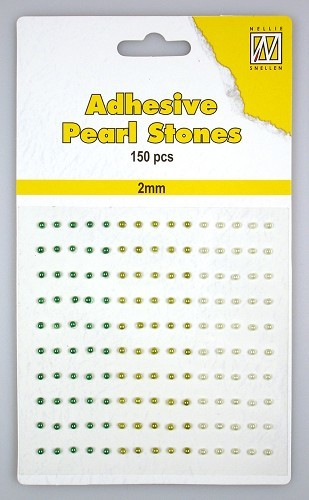 150 Adhesive pearls 2mm, 3-colors - Green