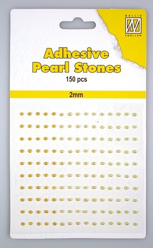150 Adhesive pearls 2mm 3-colors - Yellow/gold