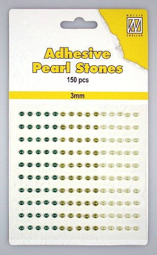 150 Adhesive pearls 3mm, 3-colors - Green