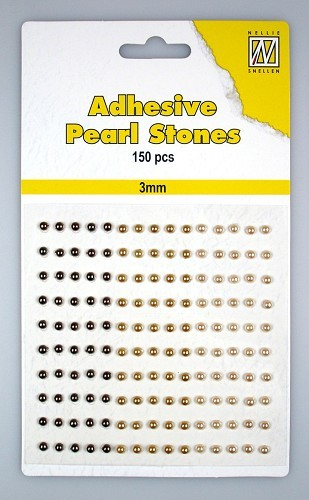 150 Adhesive pearls 3mm 3-colors - Brown