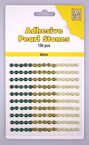 150 Adhesive pearls 4mm 3-colors - Green