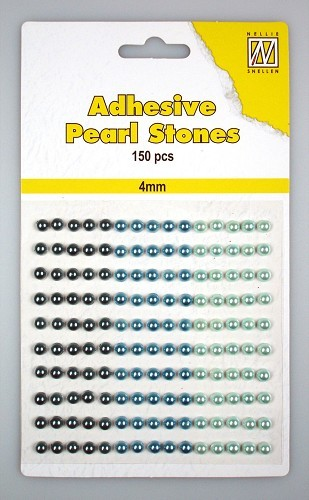 150 Adhesive pearls 4mm, 3-colors - Blue