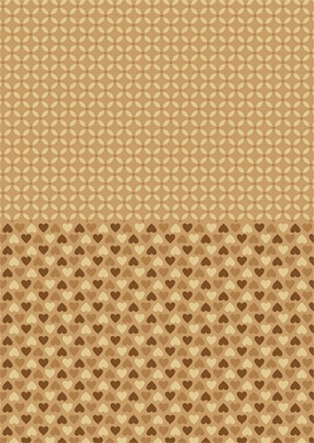 Doublesided background sheets A4 brown hearts