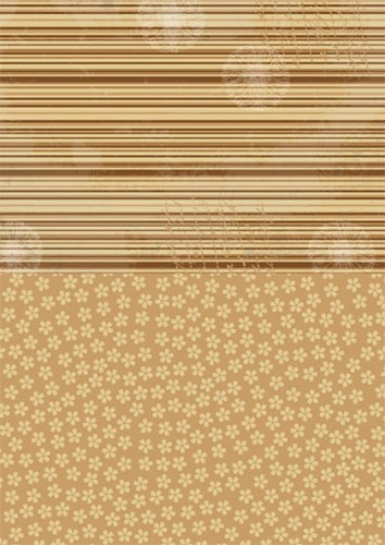 Doublesided background sheets A4 brown flowers