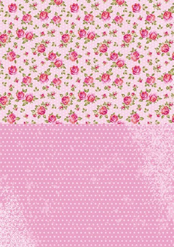 Doublesided background sheets A4 pink roses
