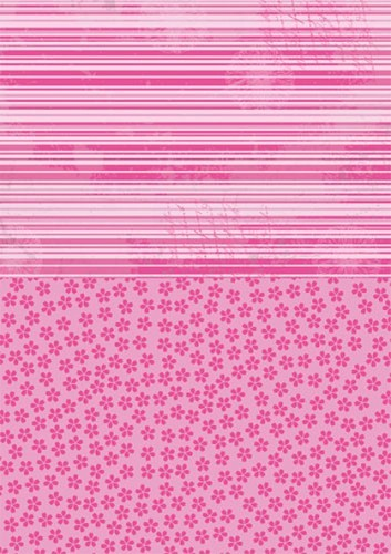 Doublesided background sheets A4 pink flowers
