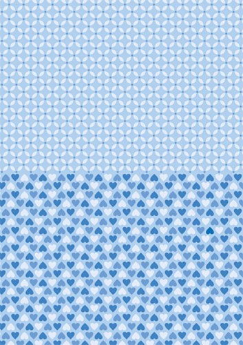 Doublesided background sheets A4 blue hearts