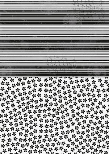 Doublesided background sheets A4 black flowers