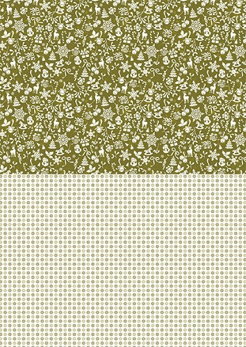Background sheets A4 Christmas green snowflakes