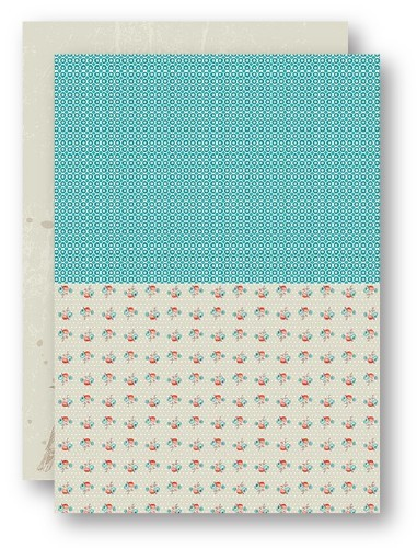 Background Sheets A4 turquoise roses