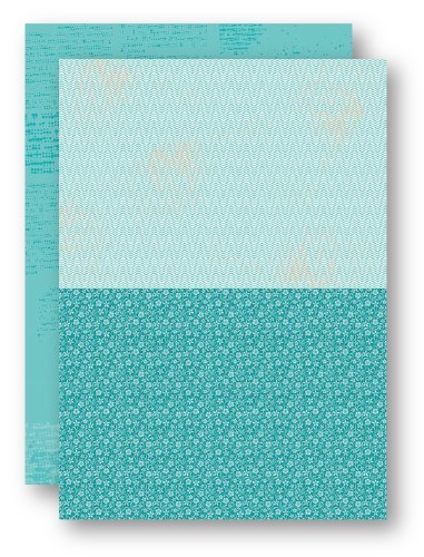 Background Sheets A4 turquoise flowers-2
