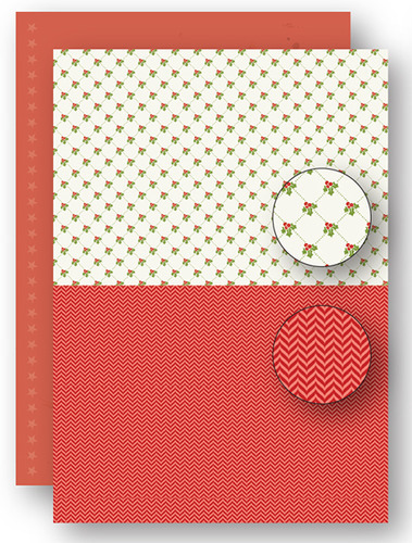 Background sheets doublesided - Christmas - Red holly