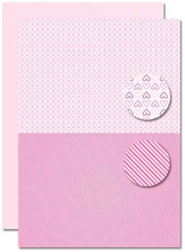 Decoupage sheet - Doublesided - Pink - Babygirl-hearts