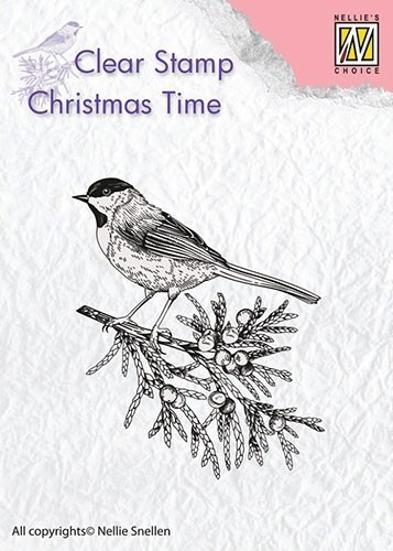 "Christmas Time ""Conifer branch with bird"""""