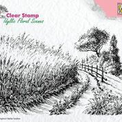 "Clear Stamps idyllic floral scene ""Cornfield and country road"""