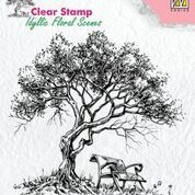 "Clear Stamps idyllic floral scene ""Tree with bench"""