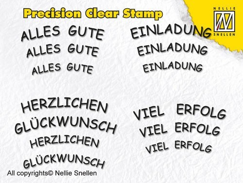 Precision clear stamps German Texts-2
