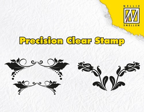 Precision clear stamps leaves & double tulips