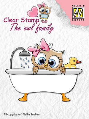 Clear stamps The owl family Taling a bath