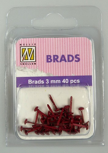 Floral brads - Christmas red
