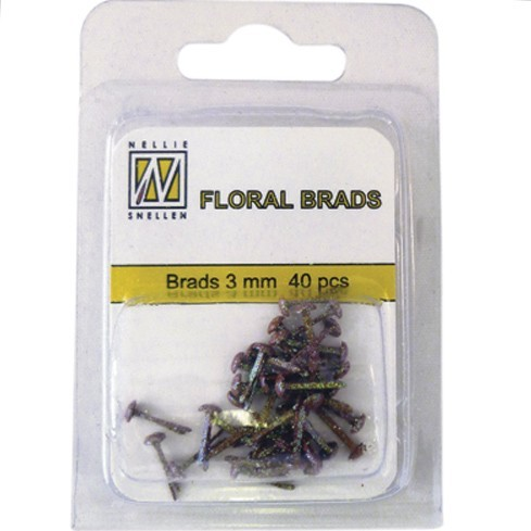 40 glitter brads - dark brown