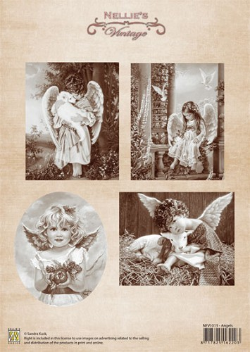 A4 sheet Christmas vintage Angels