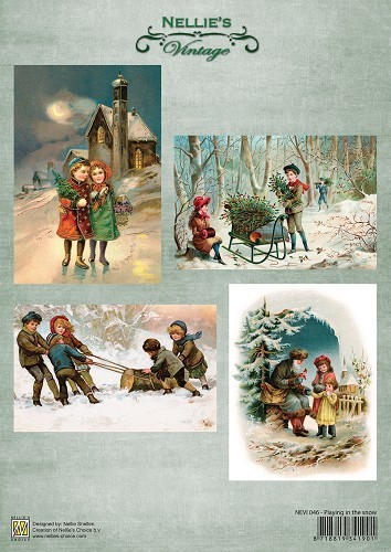 Decoupage sheets A4 Vintage Playing in the snow