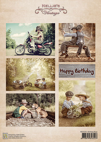 Decoupage sheet vintage - Birthday boys
