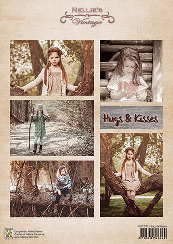 Decoupage sheet vintage - Hugs & kisses