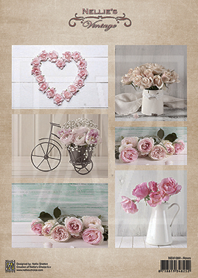 Vintage decoupage sheets Wedding roses