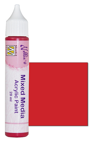 Mixed media paint satin red