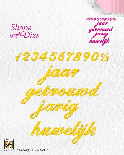 Shape Die Dutch text jubileum-verjaardag