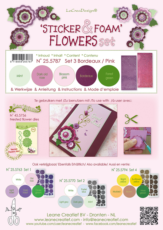 Sticker & Foam Flowers Set 3, 5 sheets A4 0.8mm. bordeaux/pink & 2 nested flower stickers incl. i
