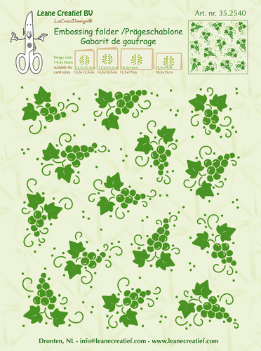 Embossing folder background Grapes 14.4x16cm