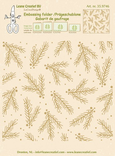 Embossing folder Christmas branches background