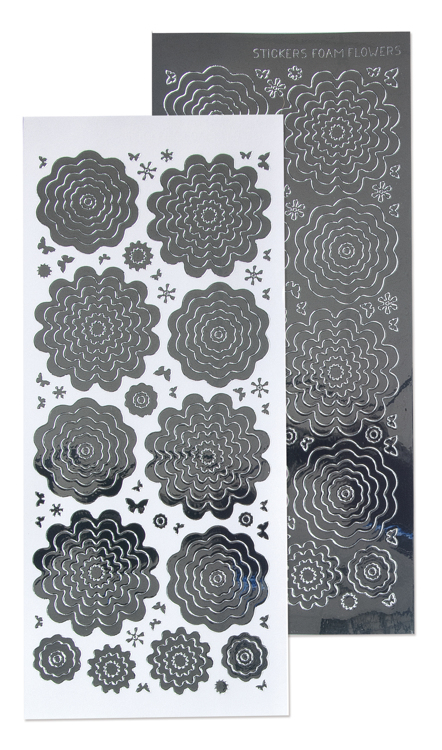 10 Nested Flowers stickers 3. mirror silver