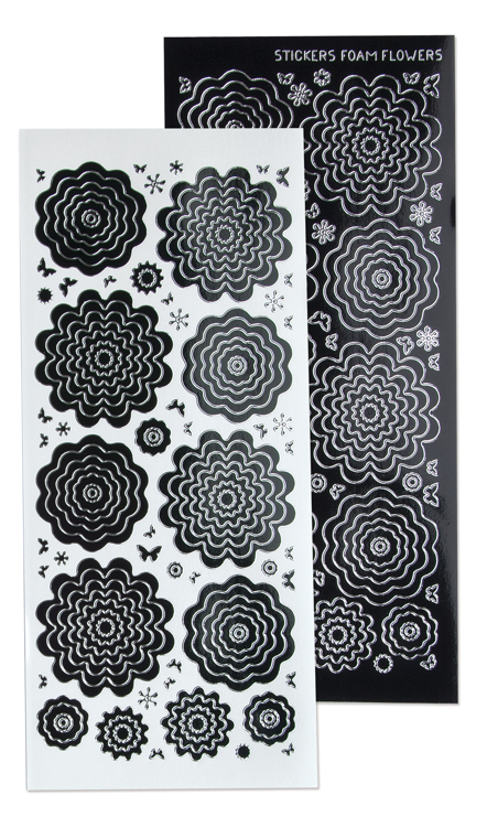 10 Nested Flowers stickers 4. black silver