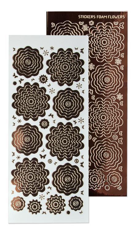 10 Nested Flowers stickers 8. mirror brown