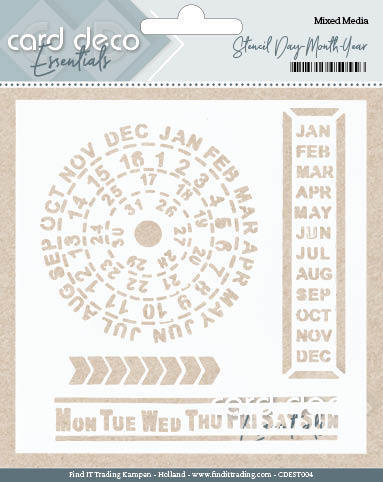 Card Deco Essentials - Stencil Day - Month - Year