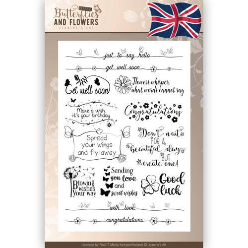 Clearstamps Tekst - Jeanines Art - Classic Butterflies and Flowers - Engels