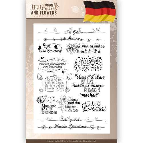 Clearstamps Tekst - Jeanines Art - Classic Butterflies and Flowers - Duits