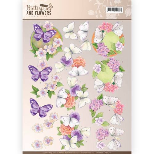 3D Knipvel - Jeanine's Art - Classic Butterflies and Flowers - Purple Flowers