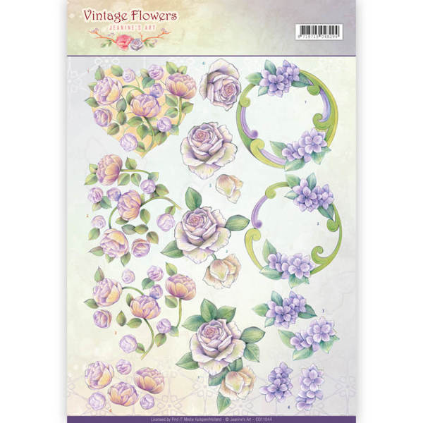 3D Knipvel - Jeanine's Art - Vintage Flowers - Romantic Purple
