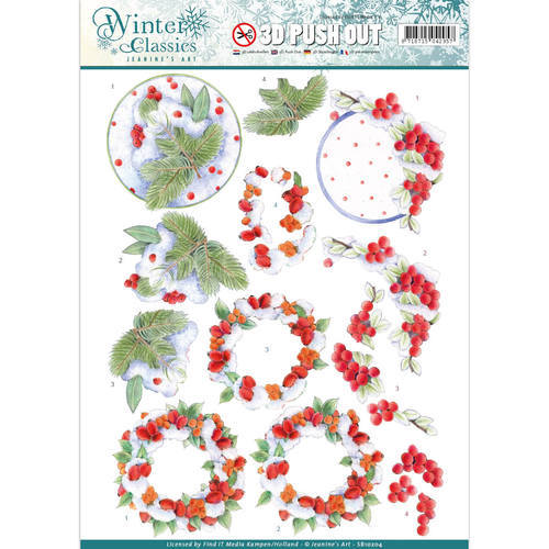 Jeanine's Art - Winter Classics - Winterberries - 3D Push Out