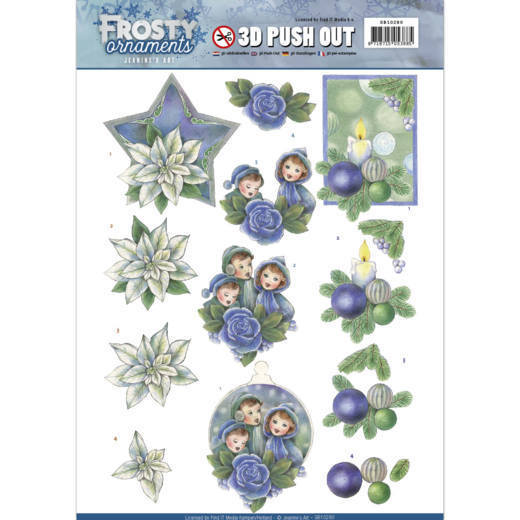3D Push Out - Jeanine's Art - Frosty Ornaments - Blue Ornaments