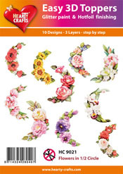 Easy 3D-Toppers - Flowers in 1/2 Circle (1)