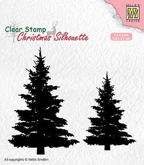 Christmas silhouette clear stamps Fir trees