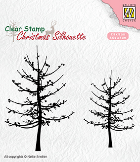 Christmas silhouette clear stamps leafless trees