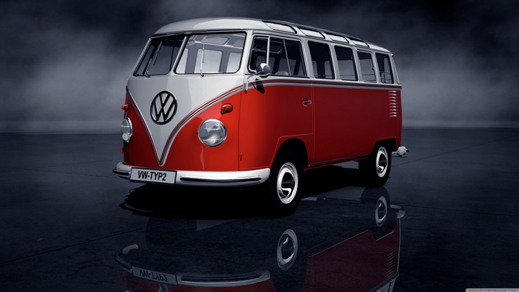 01-vw1 Diamond Painting ronde steentjes vw bus rood