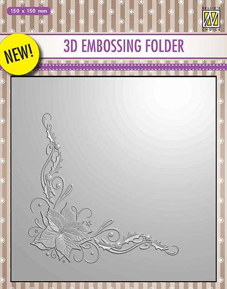 3D embossing Folders Poinsetta Corner